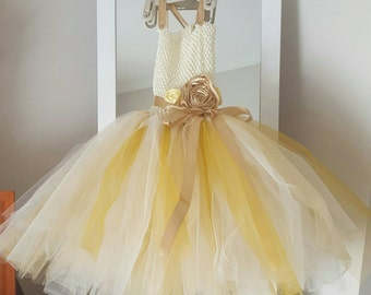 Pastel yellow flower girl dresses