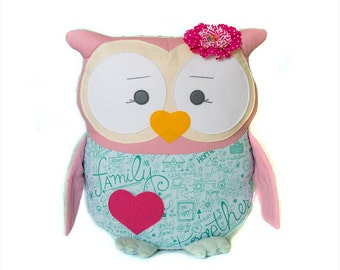 Baby shower gifts Stuffed owls Kids pillow Teal pink decor Animal pillow Personalized owl Baby nursery decor Decorative pillow Plushie toy