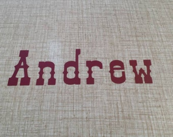 Customized Name Decal, Personalized Decal, Name Sticker, Wall Name Decal, Font: Old West