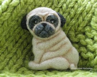 Pug Handmade Felt Brooch Made to Order Pug Needle Felting Dog Wool Jewelry Needle Felted Brooch Puppy Felted Cutest Gift Handmade Brooch Pug