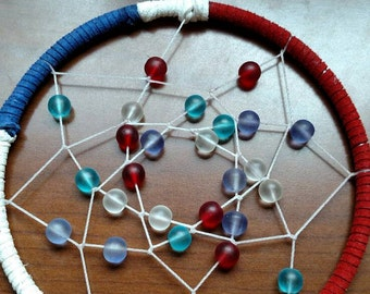 Red, white and blue beaded dreamcatcher