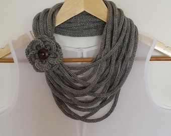 The Winter Necklace. Crochet Chain Scarf. Crochet Icord Necklace. Crochet French Knit Necklace. Knitted Scarf. Knitted Necklace.