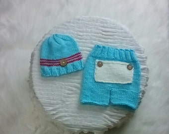 Newborn Baby Boy Knit Outfit Photo Prop