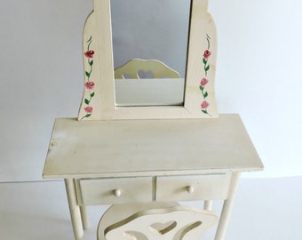 Vintage Doll Vanity with chair and mirror