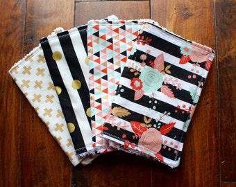Renie Bundle, baby girl burp cloths, burp cloths, burp cloth set,  baby gift, Coral, Mint, Gold, floral burp cloths, baby girl, chenille