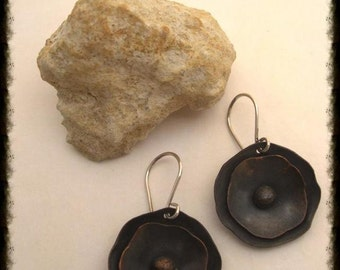 Copper Poppy flower earrings