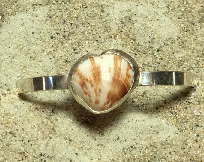 Sterling Silver Cuff Bracelet with SS Bezel Set Cockleshell