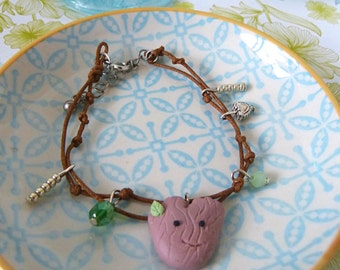 Groot guardian of the Galaxy bracelet lucky charms sweet tree being forest spirit heart pendant beads gift sister girlfriend wife unique