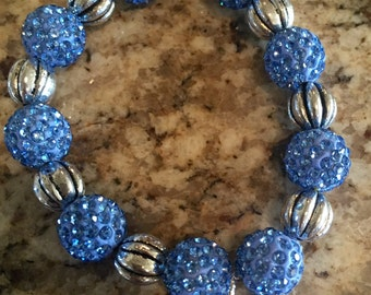 Sparkling Blue Beads/Silver metal Beads