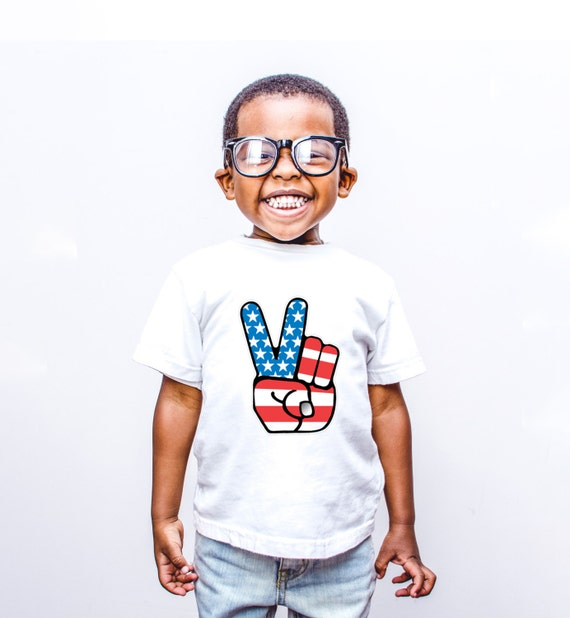 Peace American Flag Funny T shirt for Kids, 4th of July shirt for kids
