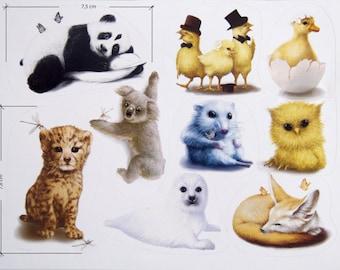 Cute Animal Vinyl Stickers - Small