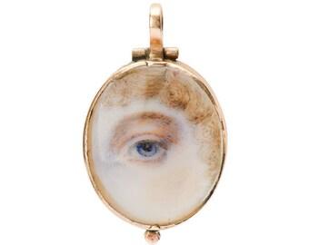 Lover's Eye Locket - Flaming Hearts Antique Rare Secret Circa 1830 - 1840