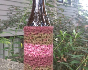 Crocheted Beer Bottle Cover/Cozy -- Summer Woods