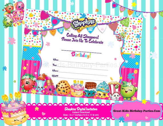 Shopkins Blank Invitations Shopkins Invitations Shopkins