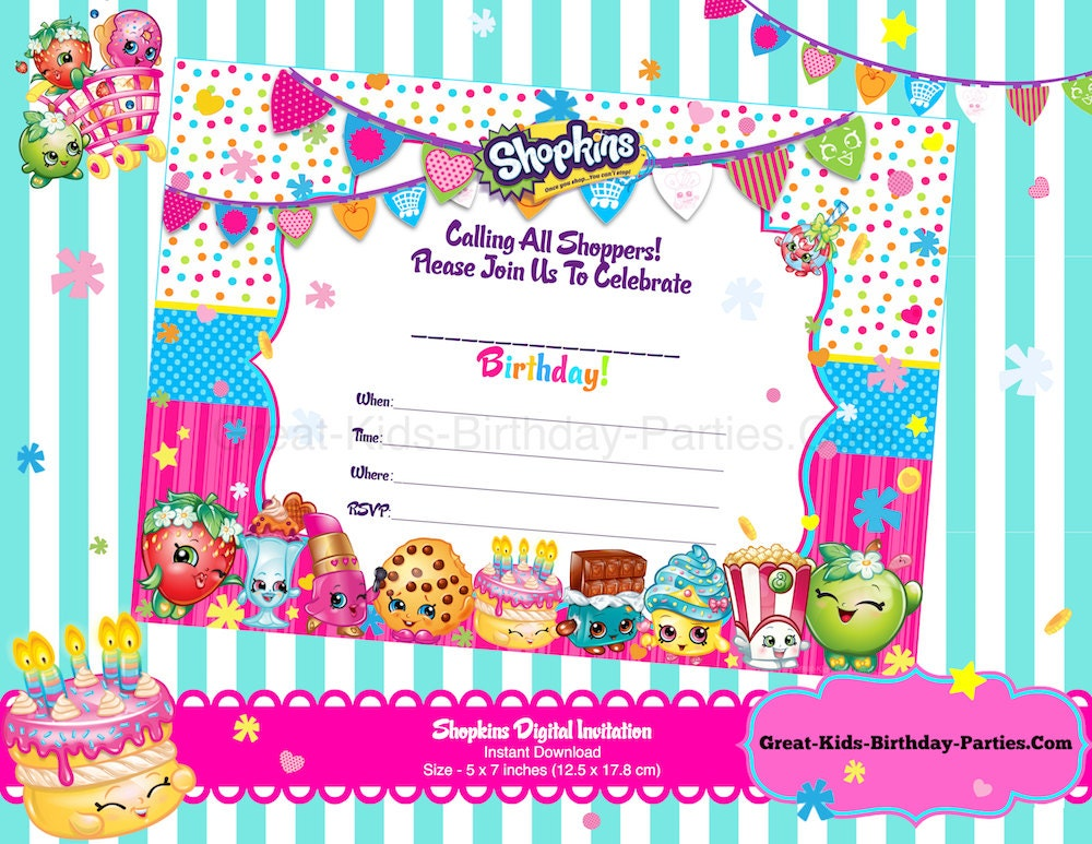 picture about Shopkins Printable Invitations known as S Hopkins Printable Invites Record: Free of charge Shopkins
