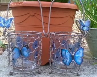 Blue Butterfly Out Door Candle Holders/ Tea Light Holders