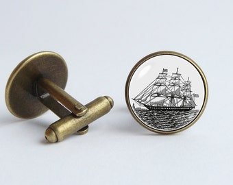 Vintage ship cufflinks Nautical jewelry Pirate ship cufflinks Boat cuff links Sea jewelry Schooner cufflinks Old ship Vintage sailing ship
