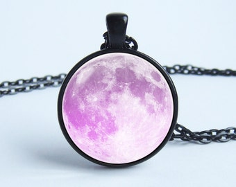 Pink moon necklace Moon pendant Lunar necklace Outer space Full moon jewelry Pendant necklace Galaxy jewelry Space Galaxy Universe Moon gift