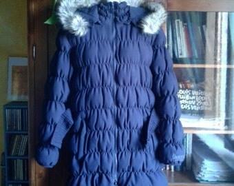 Duvet jacket down coat blue indigo by Boxeur des Rues. Indigo blue padded jacket of Boxeur des Rues