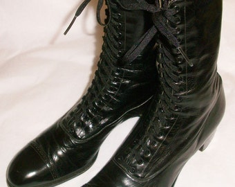 Men's or Boys Black Edwardian Laceup Boots