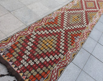 Vintage kilim rug, long kilim rug, handwoven kilim rug  15x3 ft