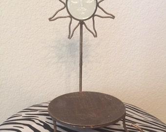 Vintage Metal & Glass Star Candle Holder