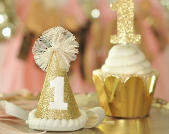 Glitter 1st Birthday Party Hats - Gold or Silver