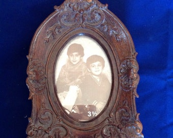Ornate carved resin wood vintage frame, in an antique Victorian style