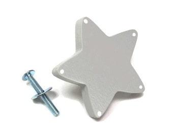 soft light grey star button kid's room, Dresser knob, drawer painted wood