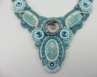 Bead Embroidery, Amazonite Statement Bib Necklace, KayhandaJewelry, Beaded Embroidery Jewelry