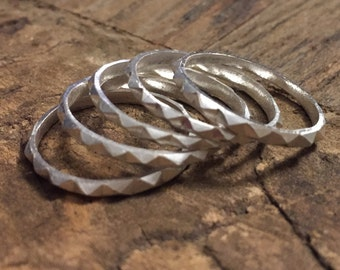 Cast & Carved Silver Stackable Ring