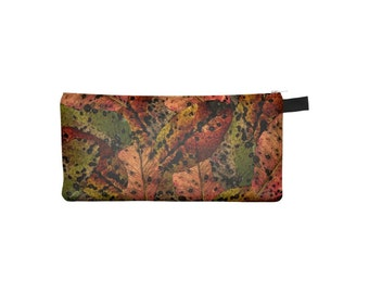 Fall Leaves Pouch, Printed Pencil Case, Zipper Coin Purse, Small Makeup Cosmetic Bag, Back to School, Jewelry Pouch, Autumn in Brown Green