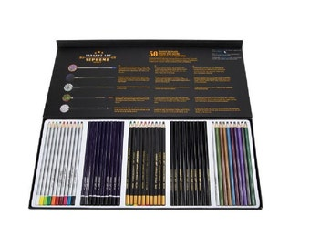 50 Pc Pencil Set METALLIC Watercolor Charcoal Sketching Coloring SARGENT SUPREME