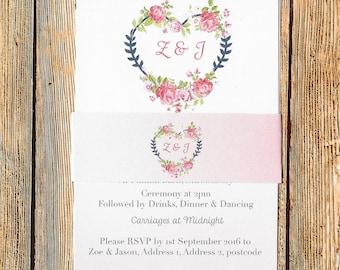 Rustic Wedding Invitation, Wedding Invitation, Invites, Wedding Invites, Flower Wedding Invites, Invitation, Wedding Stationery, Shabby Chic