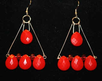 Greek Goddess Halloween Triangle Goth Ruby Red Chandelier Earrings Egyptian Handmade Teardrop Trapeze Triangle Large Statement Long Dangle