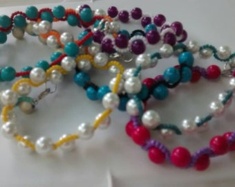 Beaded swirl pearl bracelet