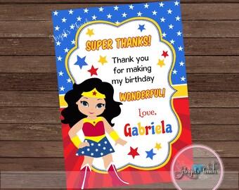 Wonder Woman Thank You Card, Wonder Woman Thank You Note, Wonder Woman Birthday Thank You Card, Wonder Woman Birthday, Digital File