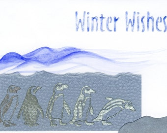 Handmade Christmas card - Penguins' Winter Wishes