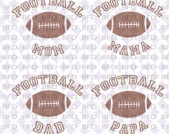Football bundle Football mom Mame Papa Dad Football svg Super bowl Brown football Cuttable design file svg dxf eps png