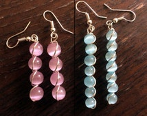 Handmade Gemstone Rare Pink & Blue Mexican Opal Cats Eye Silver Plated Copper Wire Earrings