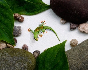 Original miniature watercolor painting of a Gecko.