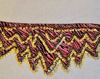 Belly Dance Hip Scarf (used), Pink Leopard with coins