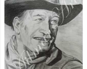 John Wayne, Pencil and Graphite,Portrait,Original