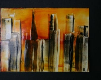 Encaustic Skyline skyscrapers sunset by Mary