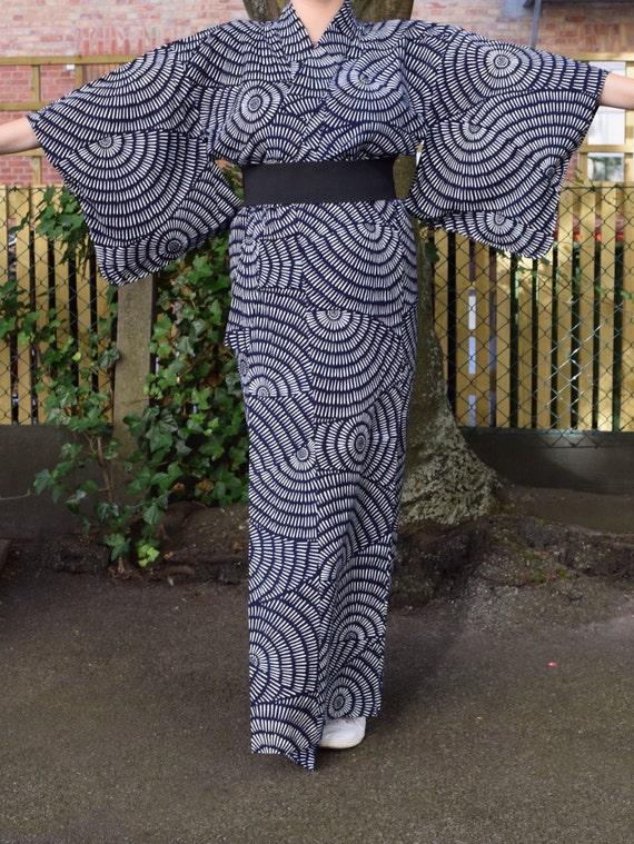 Vintage kimono handprinted cotton EV44