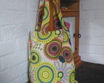 Very bright, yelow shopping, tote bag