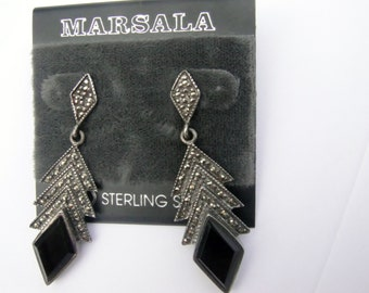 Vintage Marsala Sterling Silver Marcasite and Onxy Earrings