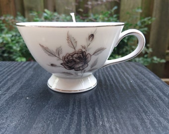 Unscented Soy Teacup Candle - gray floral on white- dye free, scent free - made in Portland, Oregon