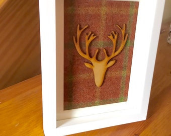 Scottish tartan frame with wooden stag head