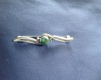 Turquoise and silver Celtic Brooch